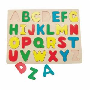 Drewniane puzzle wkładanki alfabet
