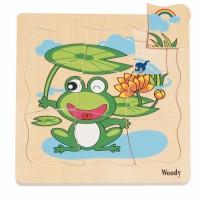 Drewniane puzzle warstwowe rozwój żaby