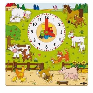 Puzzle drewniane wciskanki z zegarem