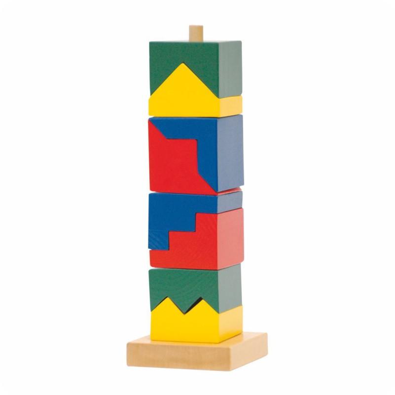 Drewniana kolorowa układanka wieża