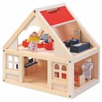 Drewniany domek dla lalek z akcesoriami 21 el.