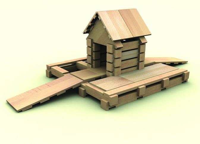 Drewniane klocki Brico 500 el. + pojemnik plastikowy
